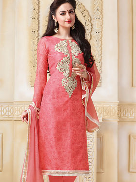 Viva N Diva Semi Stitched Banarasi Chanderi Embroidered Suit Color-Blossom-03-1041