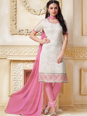 Viva N Diva Banarasi Chanderi Embroidered Unstitched Suit  Color-Blossom-03-1043