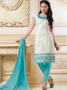 Viva N Diva Banarasi Chanderi Embroidered Unstitched Suit  Color-Blossom-03-1044