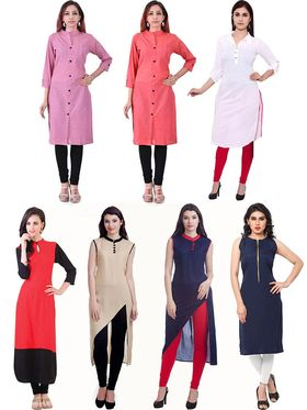 Pack of 7 Viva N Diva Plain Cotton Semi Stitched Kurtis - Lauren