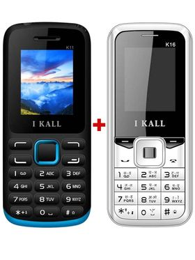 Combo of I KALL K11 Dual SIM Mobile (Blue)+ I KALL K16 Dual SIM Mobile Phone (White)