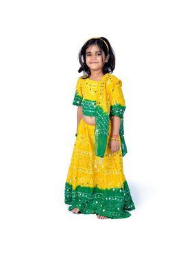 Little India Pure Cotton Printed Lehenga Choli - Green & Yellow