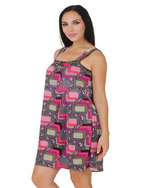 Fasense Shinker Cotton Printed Nightwear Short Nighty -DP149B1