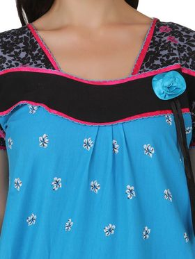 Fasense Shinker Cotton Floral Print Nightwear Long Nighty -DP151B1