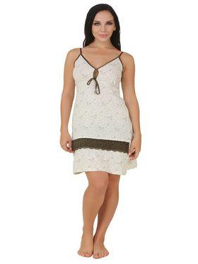 Fasense Shinker Cotton Floral Print Nightwear Short Nighty -DP154C1