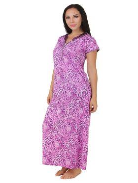 Fasense Shinker Cotton Printed Nightwear Long Nighty -DP158A1