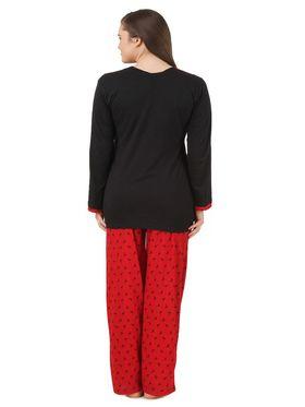 Fasense Shinker Cotton Solid Printed Nightwear Set of Top & Pyjama -DP172A1