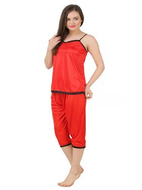 Fasense Satin Solid Nightwear Set of 3 pc of Wrap Gown Top & Capry -DP176D2