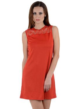 Arisha Crepe Solid Dress DRS1004_Rd