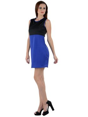 Arisha Viscose Solid Dress DRS1007_Blk-Blu