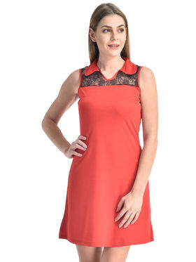 Arisha Viscose Solid Dress DRS1071_Blk-Rd