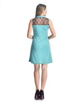 Arisha Viscose Solid Dress DRS1071_Blk-Trq