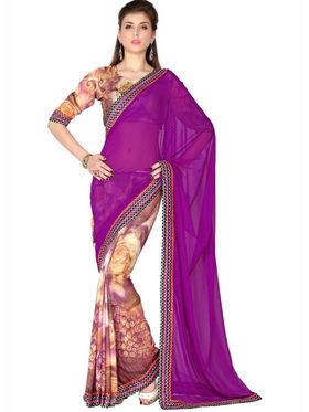 Designersareez Faux Georgette & Crepe Digital Print Saree - Violet & Multicolor