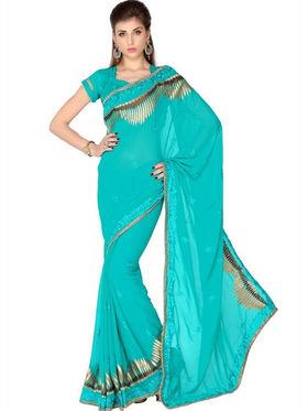 Designersareez Faux Georgette Embroidered Saree - Turquoise