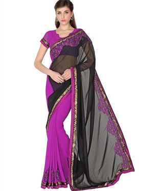 Designersareez Faux Georgette Embroidered Saree - Black & Violet