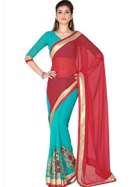 Designersareez Faux Georgette Embroidered Saree - Red & Turquoise