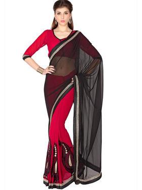 Designersareez Faux Georgette Embroidered Saree - Black & Red - 1777