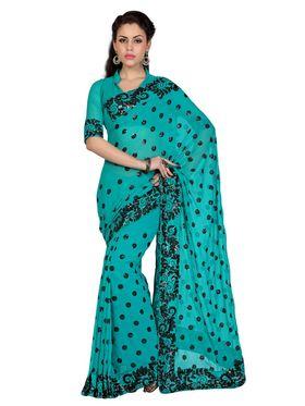 Designer Sareez Faux Georgette Embroidered Saree - Deep Teal Blue - 1588