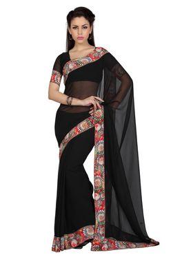Designer Sareez Faux Georgette Printed Saree - Black - 1600