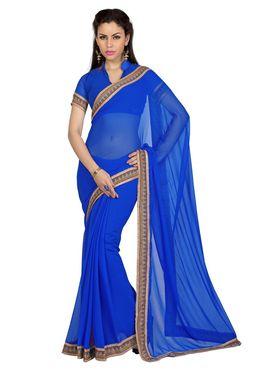Designer Sareez Faux Georgette Printed Saree - Blue - 1605