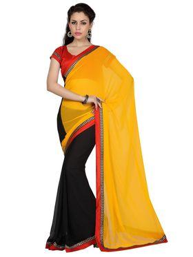 Designer Sareez Faux Georgette Embroidered Saree - Yellow & Black - 1684