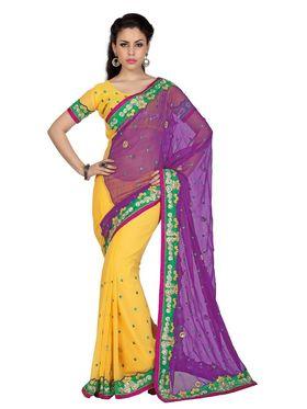 Designer Sareez Chiffon Embroidered Saree - Violet & Yellow - 1706