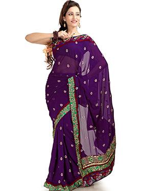 Designer Sareez Embroidered Chiffon Saree - Purple-1159