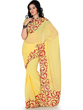 Designer Sareez Embroidered Faux Georgette Saree - Yellow-1174