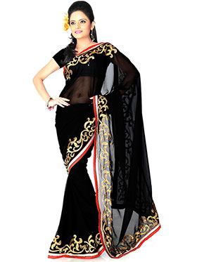 Designer Sareez Embroidered Faux Georgette Saree - Black-801