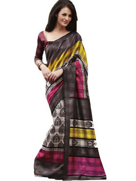Ethnic Trend Cotton Printed Saree - Multicolour - 10009