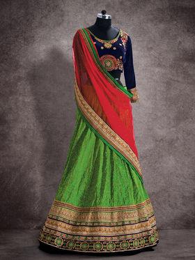 Viva N Diva Banarasi Silk Jacquard Floral Embroidery Lehenga -Ehsaas-607