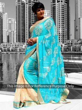 Ethnic Trend Chiffon Embroidered Saree - Sky Blue & Cream