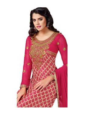 Fabfiza Embroidered Brasso Semi Stitched Straight Suit_FBHB4-59004
