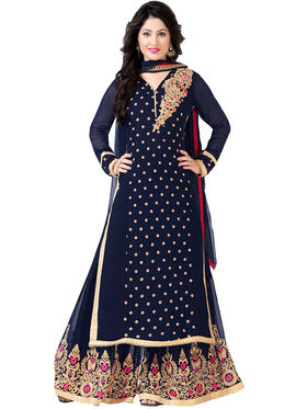 Fabfiza Embroidered Georgette Semi Stitched Straight Suit_FBHN4-69004