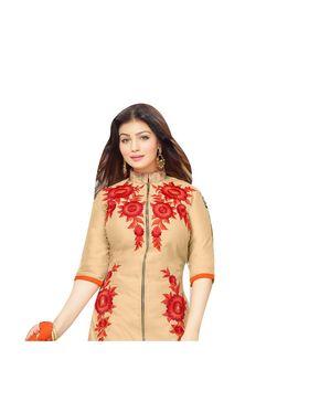 Fabfiza Embroidered Cotton Semi Stitched Straight Suit_FBMO-011
