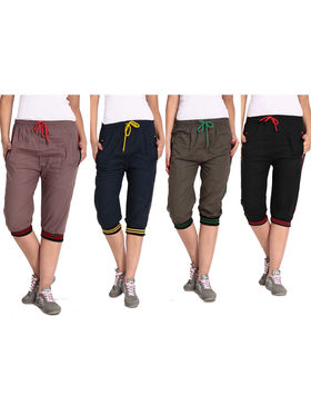 Combo of 4 Comfort Fit Cotton Capris for Women_pf13