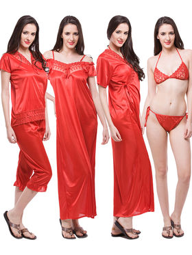 Pack of 6 Fasense Satin Plain Nightwear - DP115 C