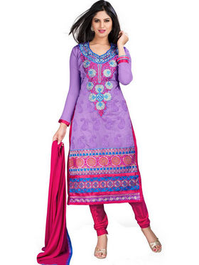 Florence Chiffon Embroidered Dress Material - Purple - SB-1992
