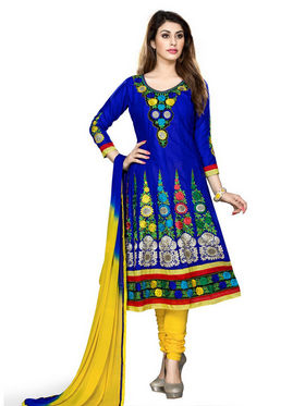 Florence Cotton Embroidered Semi Stitched Anarkali Suits - Blue - SB-1994