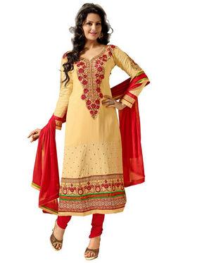 Florence Chiffon Embroidered Dress Material - Yellow - SB-2147