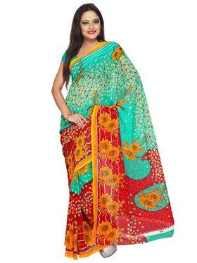 Florence Pack of 9 Multicolor Printed Faux Georgette Saree
