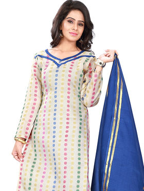 Florence Cotton Printed Dress Material - White & Blue - SB-2738