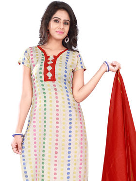 Florence Cotton Printed Dress Material - White & Red - SB-2740