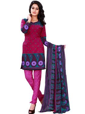 Florence American Creap  Printed Dress Material - Multicolor - SB-2728