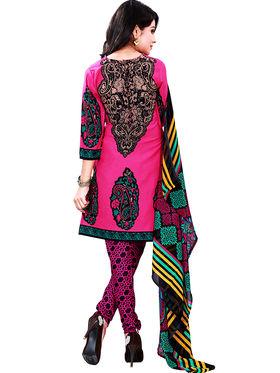 Florence American Crepe Printed Dress Material - Pink - SB-2729
