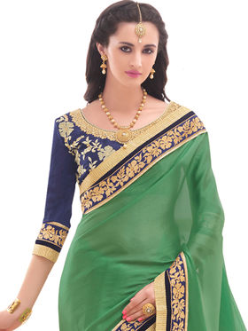 Indian Women Embroidered Satin Chiffon  Saree -Ga20208