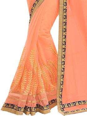 Indian Women Embroidered Chinon & Silk Saree -Ga20209