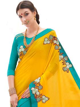 Indian Women Embroidered Crape & Georgette Saree -Ga20221