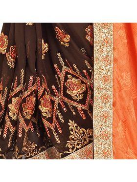 Khushali Fashion Embroidered Georgette Half & Half Saree_KF40