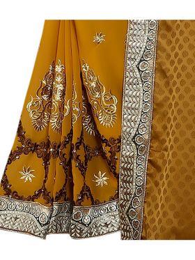 Khushali Fashion Embroidered Georgette Half & Half Saree_KF50